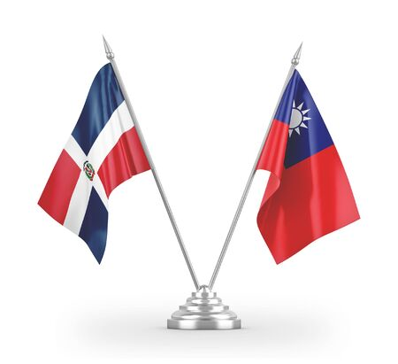 Taiwan and Dominican Republic table flags isolated on white background 3D rendering