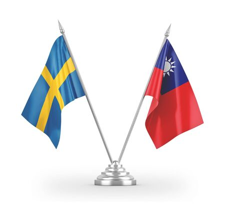 Taiwan and Sweden table flags isolated on white background 3D rendering