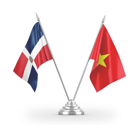 Vietnam and Dominican Republic table flags isolated on white background 3D rendering