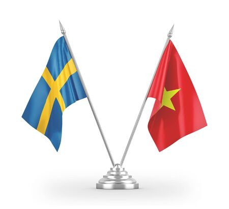 Vietnam and Sweden table flags isolated on white background 3D rendering