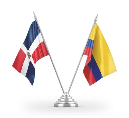Colombia and Dominican Republic table flags isolated on white background 3D rendering