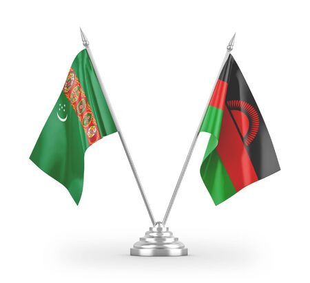 Malawi and Turkmenistan table flags isolated on white background 3D rendering