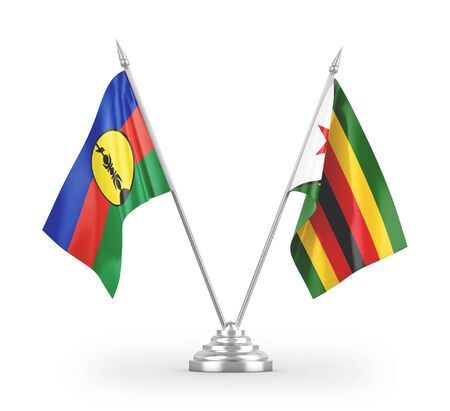 Zimbabwe and New Caledonia table flags isolated on white background 3D rendering Zdjęcie Seryjne