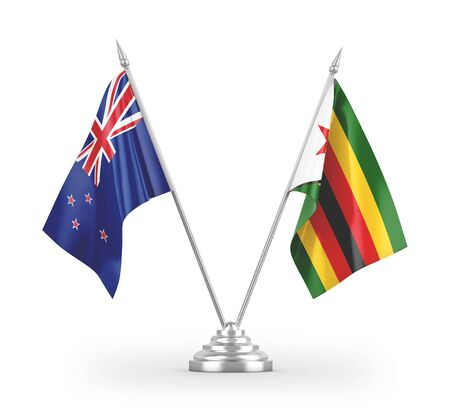 Zimbabwe and New Zealand table flags isolated on white background 3D rendering