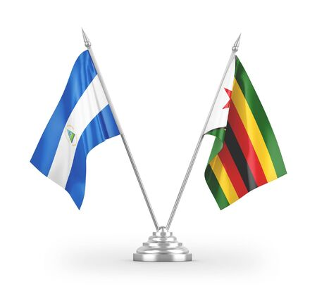 Zimbabwe and Nicaragua table flags isolated on white background 3D rendering Zdjęcie Seryjne
