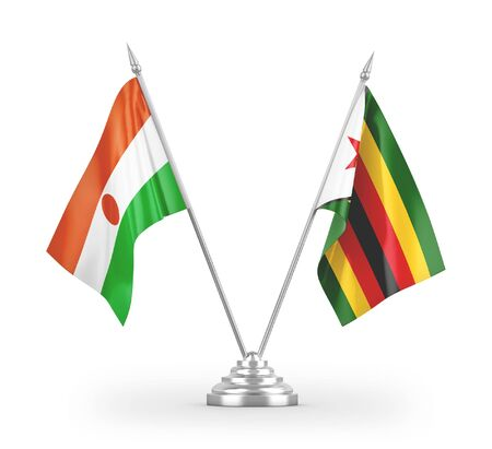 Zimbabwe and Niger table flags isolated on white background 3D rendering Zdjęcie Seryjne