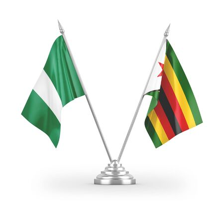 Zimbabwe and Nigeria table flags isolated on white background 3D rendering