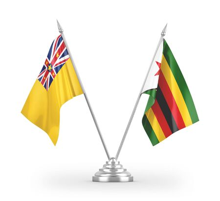 Zimbabwe and Niue table flags isolated on white background 3D rendering Zdjęcie Seryjne