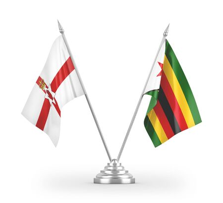 Zimbabwe and Northern Ireland table flags isolated on white background 3D rendering Zdjęcie Seryjne