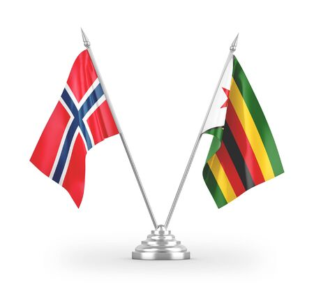 Zimbabwe and Norway table flags isolated on white background 3D rendering