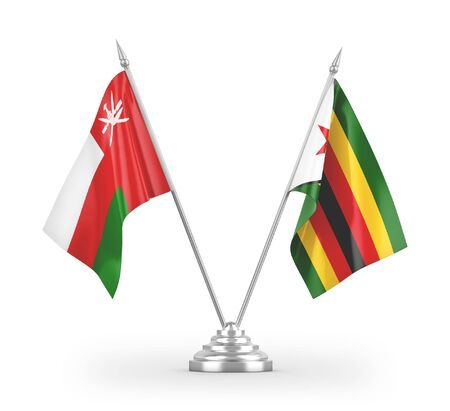 Zimbabwe and Oman table flags isolated on white background 3D rendering