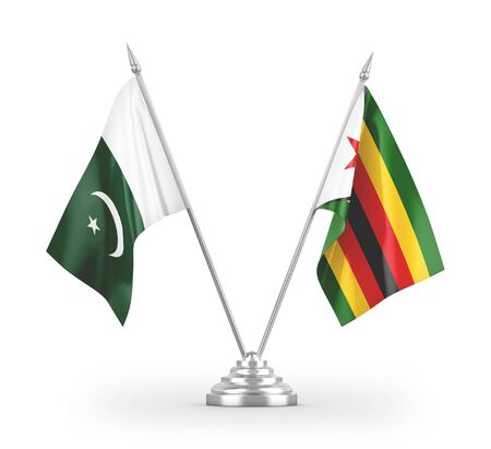 Zimbabwe and Pakistan table flags isolated on white background 3D rendering