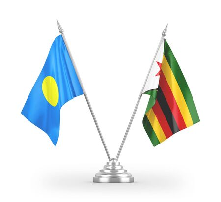 Zimbabwe and Palau table flags isolated on white background 3D rendering