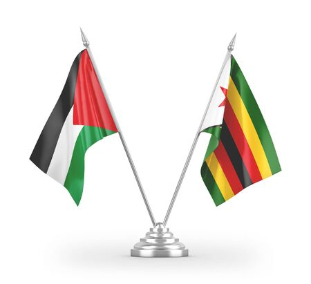 Zimbabwe and Palestine table flags isolated on white background 3D rendering