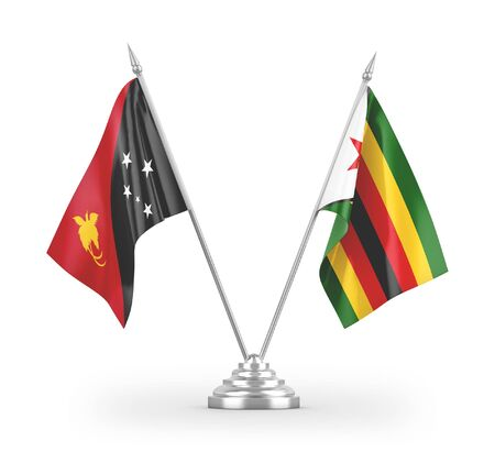 Zimbabwe and Papua New Guinea table flags isolated on white background 3D rendering