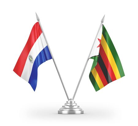 Zimbabwe and Paraguay table flags isolated on white background 3D rendering