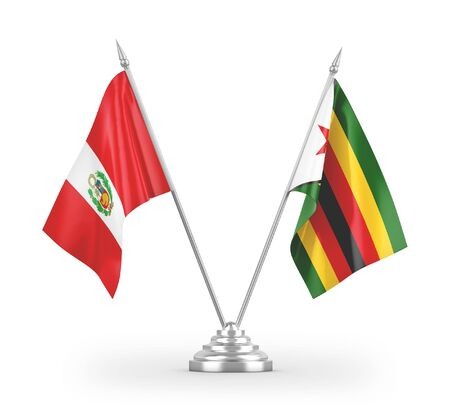 Zimbabwe and Peru table flags isolated on white background 3D rendering Zdjęcie Seryjne