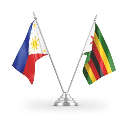 Zimbabwe and Philippines table flags isolated on white background 3D rendering