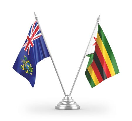 Zimbabwe and Pitcairn Islands table flags isolated on white background 3D rendering