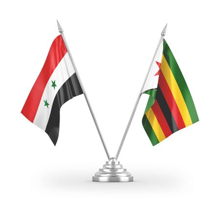 Zimbabwe and Syria table flags isolated on white background 3D rendering
