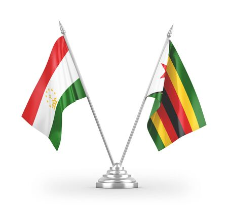 Zimbabwe and Tajikistan table flags isolated on white background 3D rendering