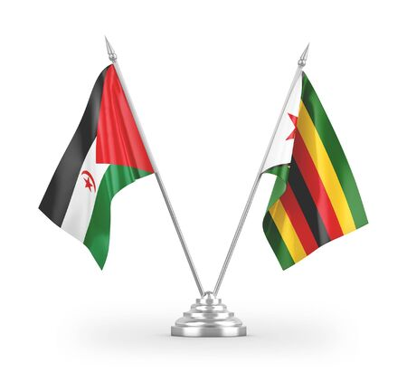 Zimbabwe and Western Sahara table flags isolated on white background 3D rendering