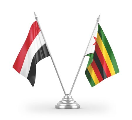 Zimbabwe and Yemen table flags isolated on white background 3D rendering