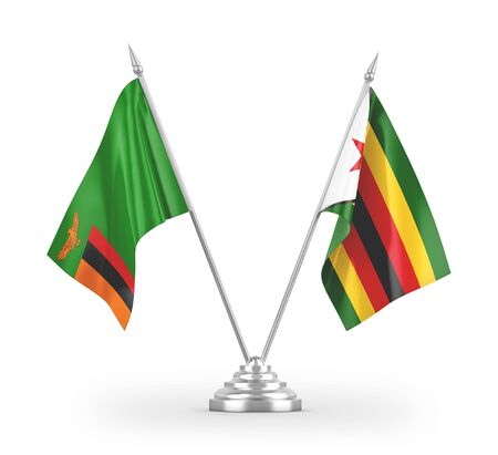 Zimbabwe and Zambia table flags isolated on white background 3D rendering Zdjęcie Seryjne