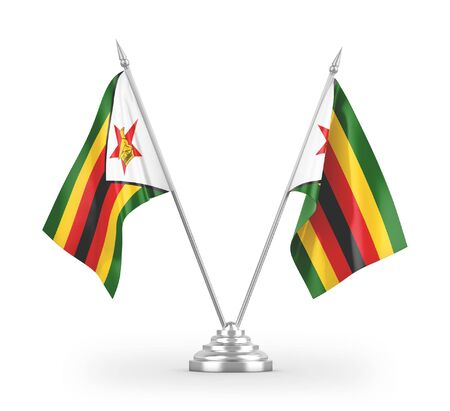 Zimbabwe table flags isolated on white background 3D rendering