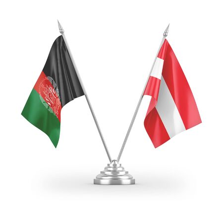 Austria and Afghanistan table flags isolated on white background 3D rendering Zdjęcie Seryjne
