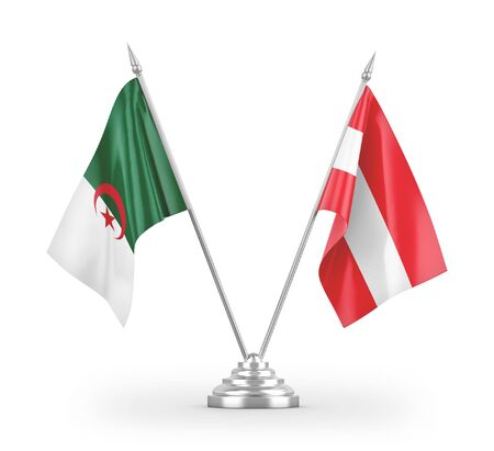 Austria and Algeria table flags isolated on white background 3D rendering