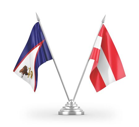 Austria and American Samoa table flags isolated on white background 3D rendering