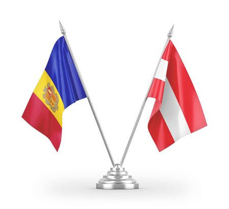 Austria and Andorra table flags isolated on white background 3D rendering