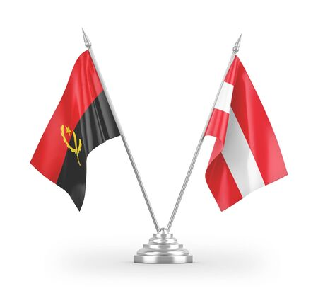 Austria and Angola table flags isolated on white background 3D rendering Zdjęcie Seryjne