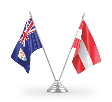Austria and Anguilla table flags isolated on white background 3D rendering