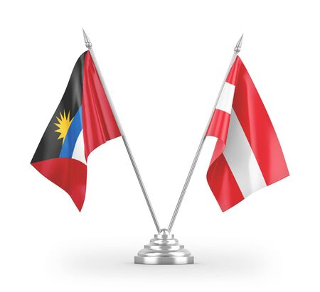 Austria and Antigua and Barbuda table flags isolated on white background 3D rendering