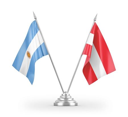 Austria and Argentina table flags isolated on white background 3D rendering