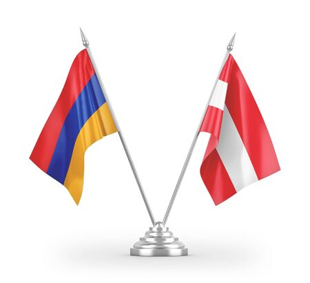 Austria and Armenia table flags isolated on white background 3D rendering