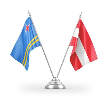 Austria and Aruba table flags isolated on white background 3D rendering