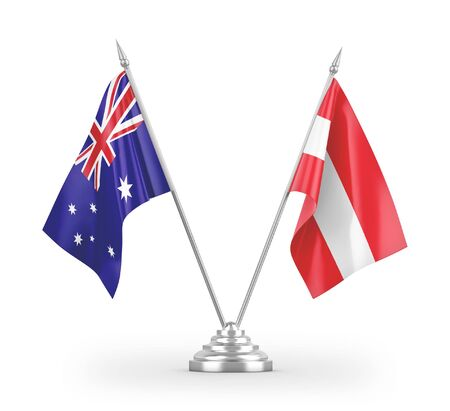 Austria and Australia table flags isolated on white background 3D rendering