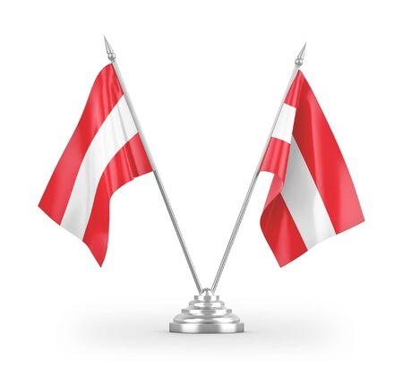 Austria table flags isolated on white background 3D rendering