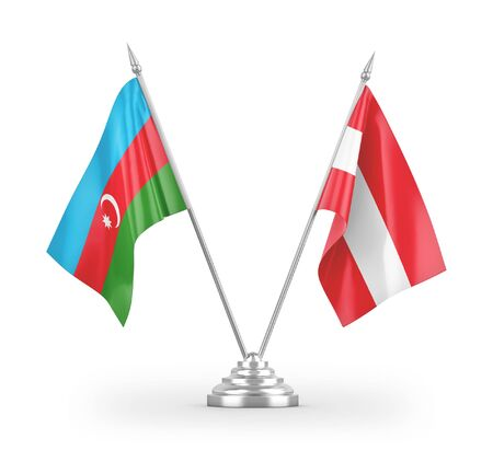 Austria and Azerbaijan table flags isolated on white background 3D rendering