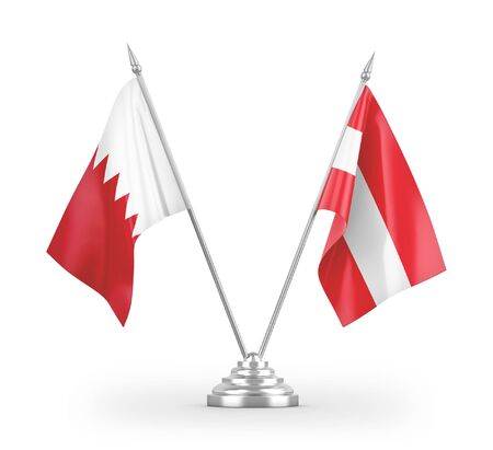 Austria and Bahrain table flags isolated on white background 3D rendering