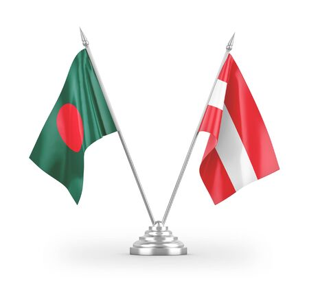Austria and Bangladesh table flags isolated on white background 3D rendering Zdjęcie Seryjne