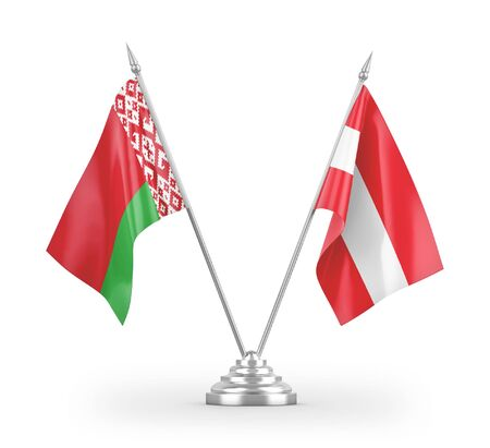 Austria and Belarus table flags isolated on white background 3D rendering Zdjęcie Seryjne