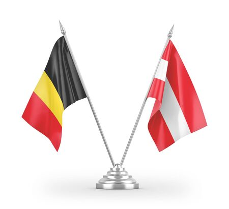 Austria and Belgium table flags isolated on white background 3D rendering