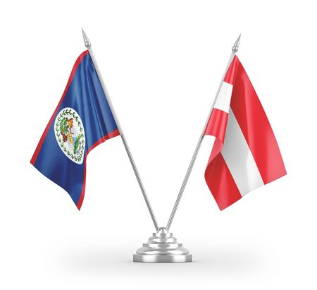 Austria and Belize table flags isolated on white background 3D rendering Zdjęcie Seryjne