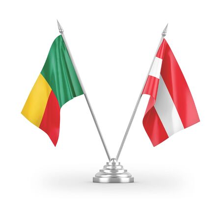 Austria and Benin table flags isolated on white background 3D rendering Zdjęcie Seryjne