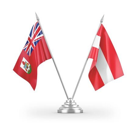Austria and Bermuda table flags isolated on white background 3D rendering