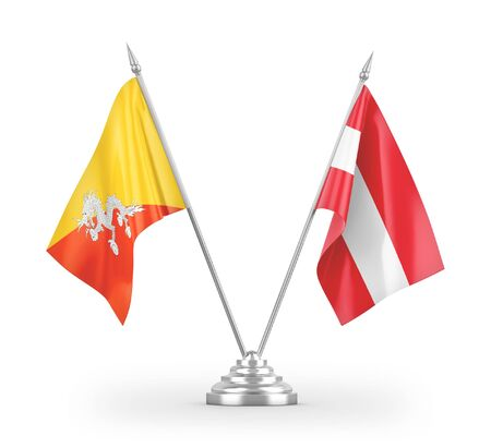 Austria and Bhutan table flags isolated on white background 3D rendering